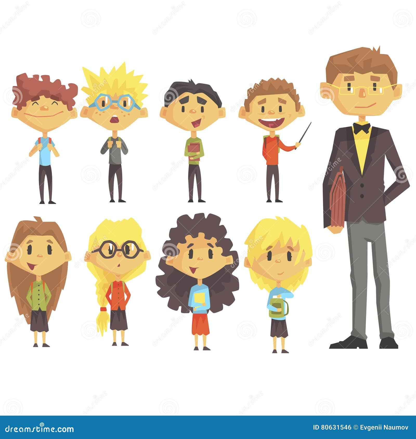 Populaire Groupe D'école Primaire D'écoliers Avec Leur Professeur Masculin  XS18