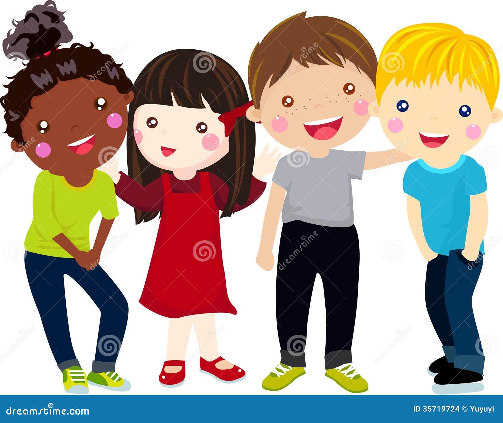 Groupe d 39 enfants ayant l 39 amusement illustration de vecteur illustration du heureux groupe - Dessin groupe d enfants ...