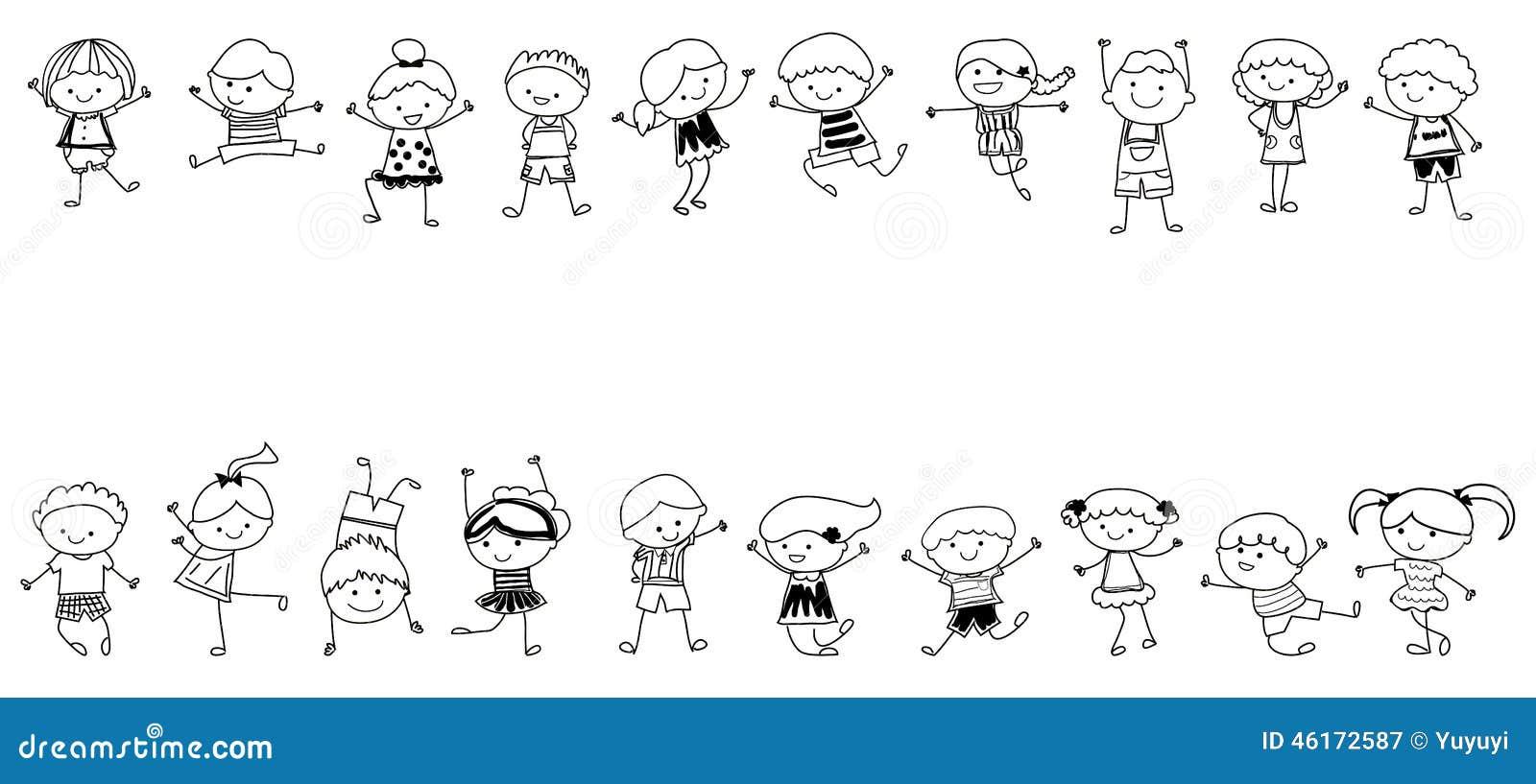 Groupe d 39 enfants croquis de dessin illustration de vecteur illustration du femelle - Dessin groupe d enfants ...