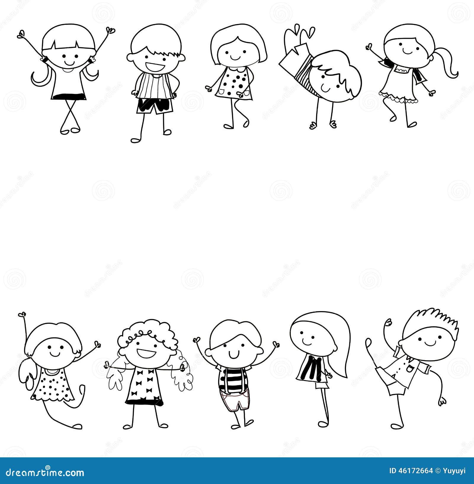 Groupe d 39 enfants croquis de dessin illustration de - Image dessin enfant ...