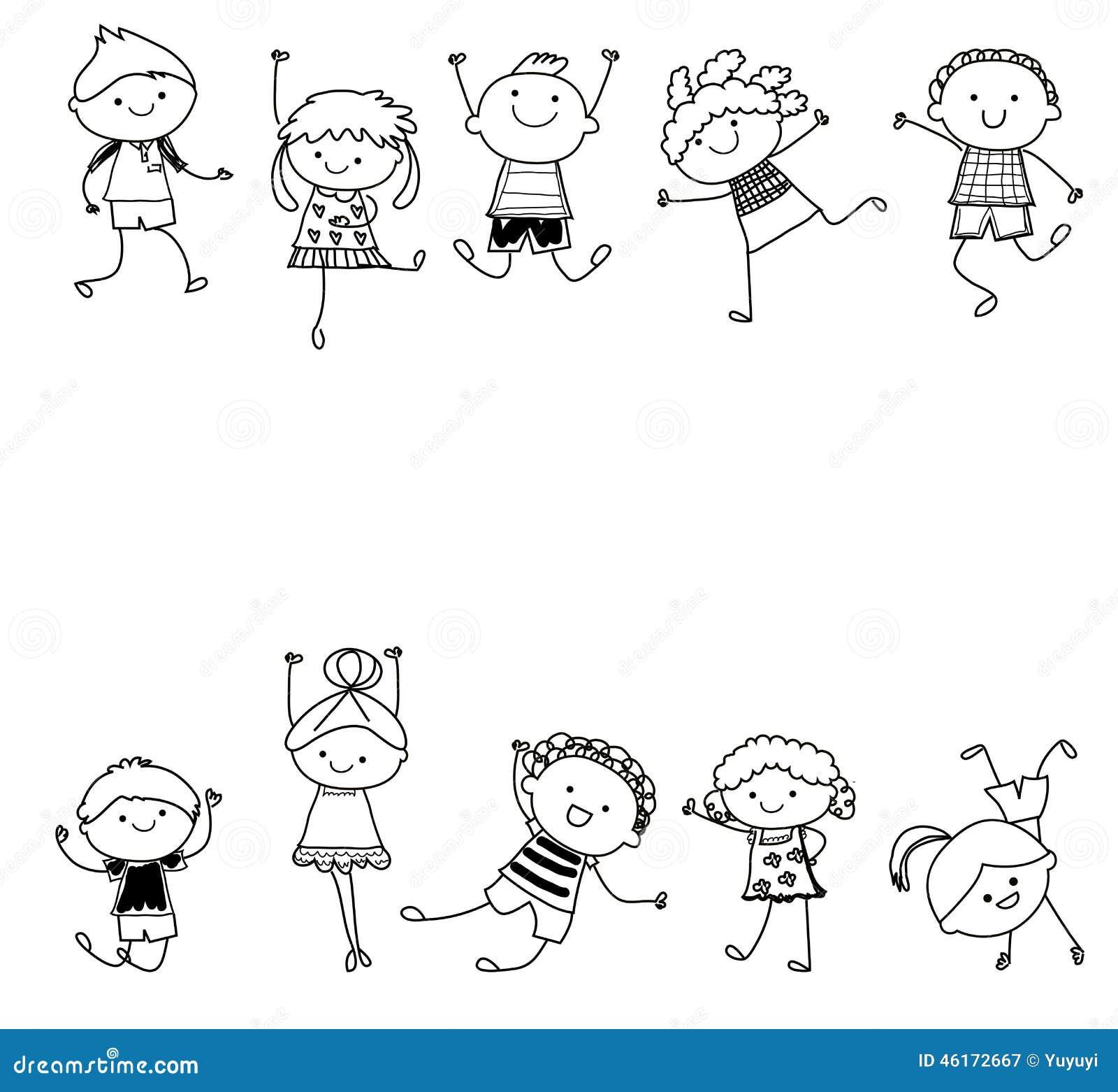 Groupe d 39 enfants croquis de dessin illustration de vecteur illustration du amusement femelle - Dessin groupe d enfants ...