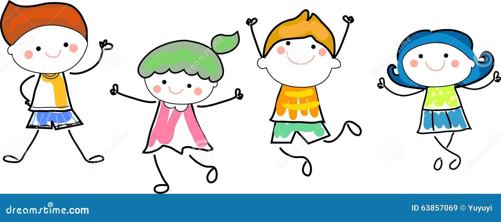 Groupe d 39 enfants croquis de dessin illustration de vecteur illustration du amusement ch ri - Dessin groupe d enfants ...