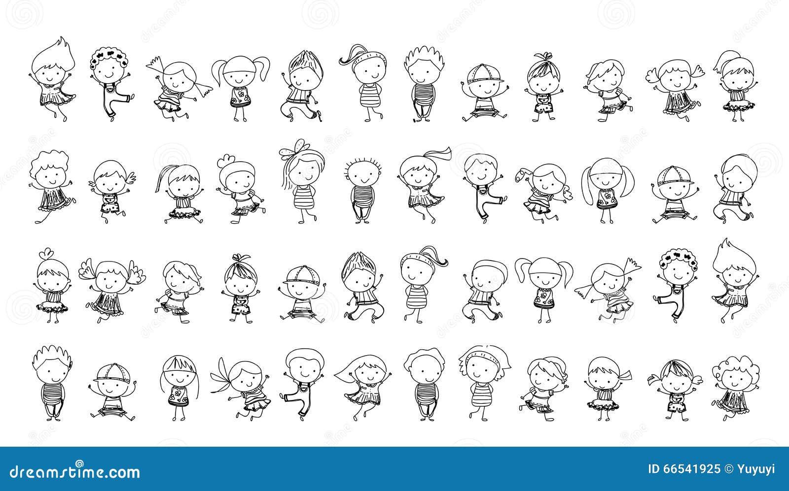 Groupe d 39 enfants croquis de dessin illustration de vecteur illustration du ch ri figure - Dessin groupe d enfants ...