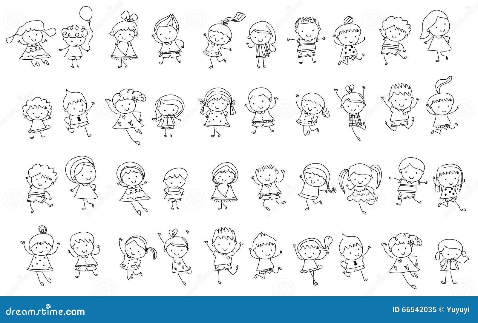 Groupe d 39 enfants croquis de dessin illustration de vecteur illustration du griffonnage - Dessin groupe d enfants ...