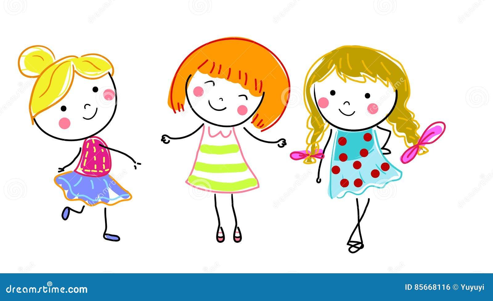 Groupe d 39 enfants croquis de dessin illustration de vecteur illustration du pi ce simple - Dessin groupe d enfants ...