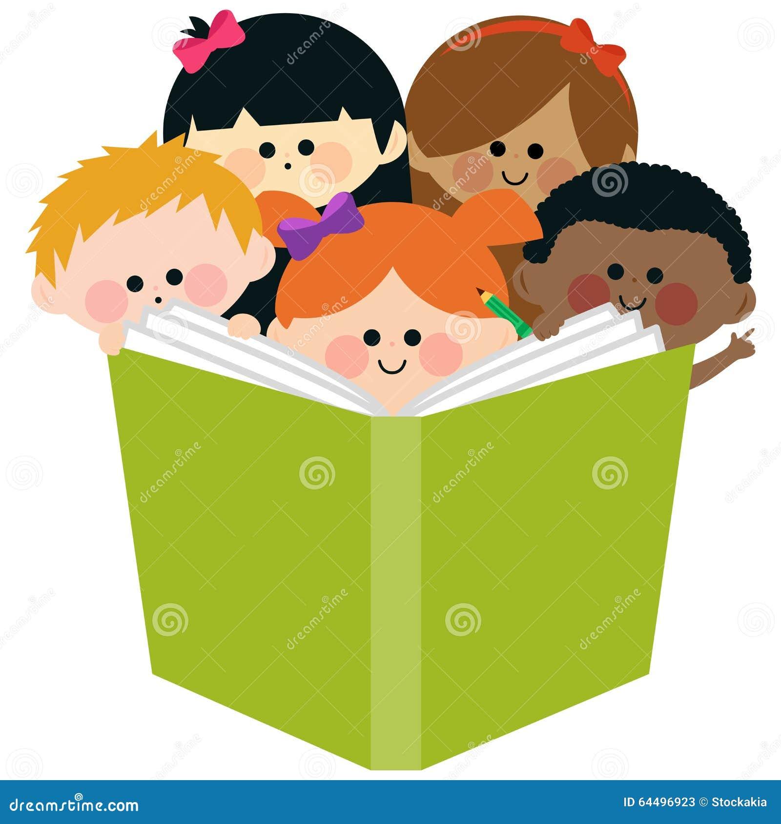 groupe d 39 enfants lisant un livre illustration de vecteur. Black Bedroom Furniture Sets. Home Design Ideas