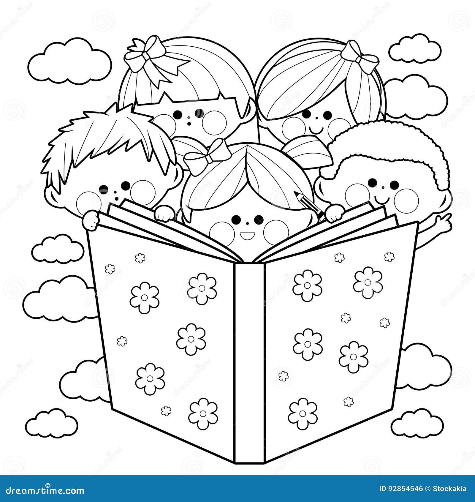 Groupe d 39 enfants lisant une page de livre de coloriage de livre illustration de vecteur - Dessin groupe d enfants ...