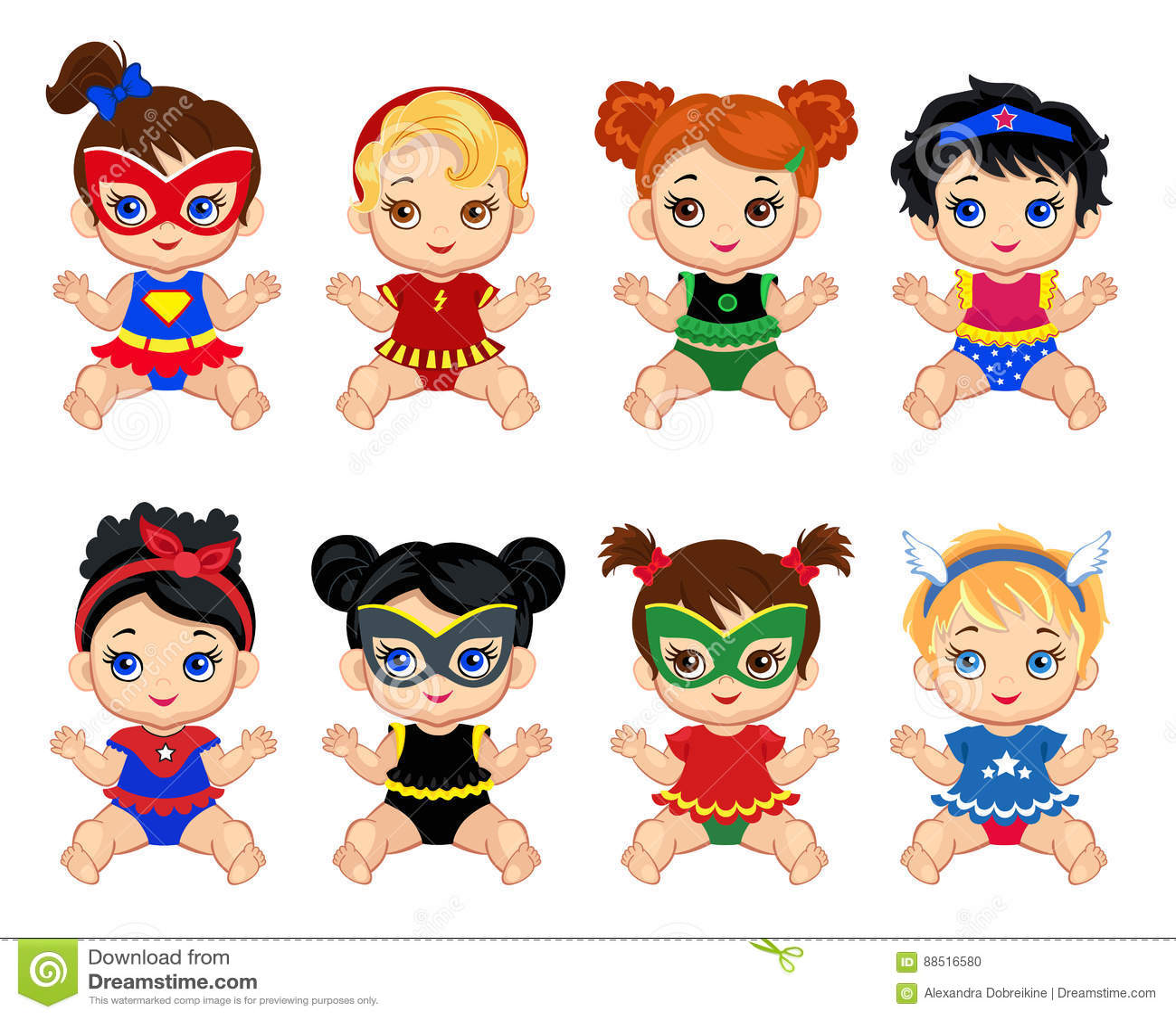 Groupe d illustration de filles de bébés mignonnes dans des costumes des super héros