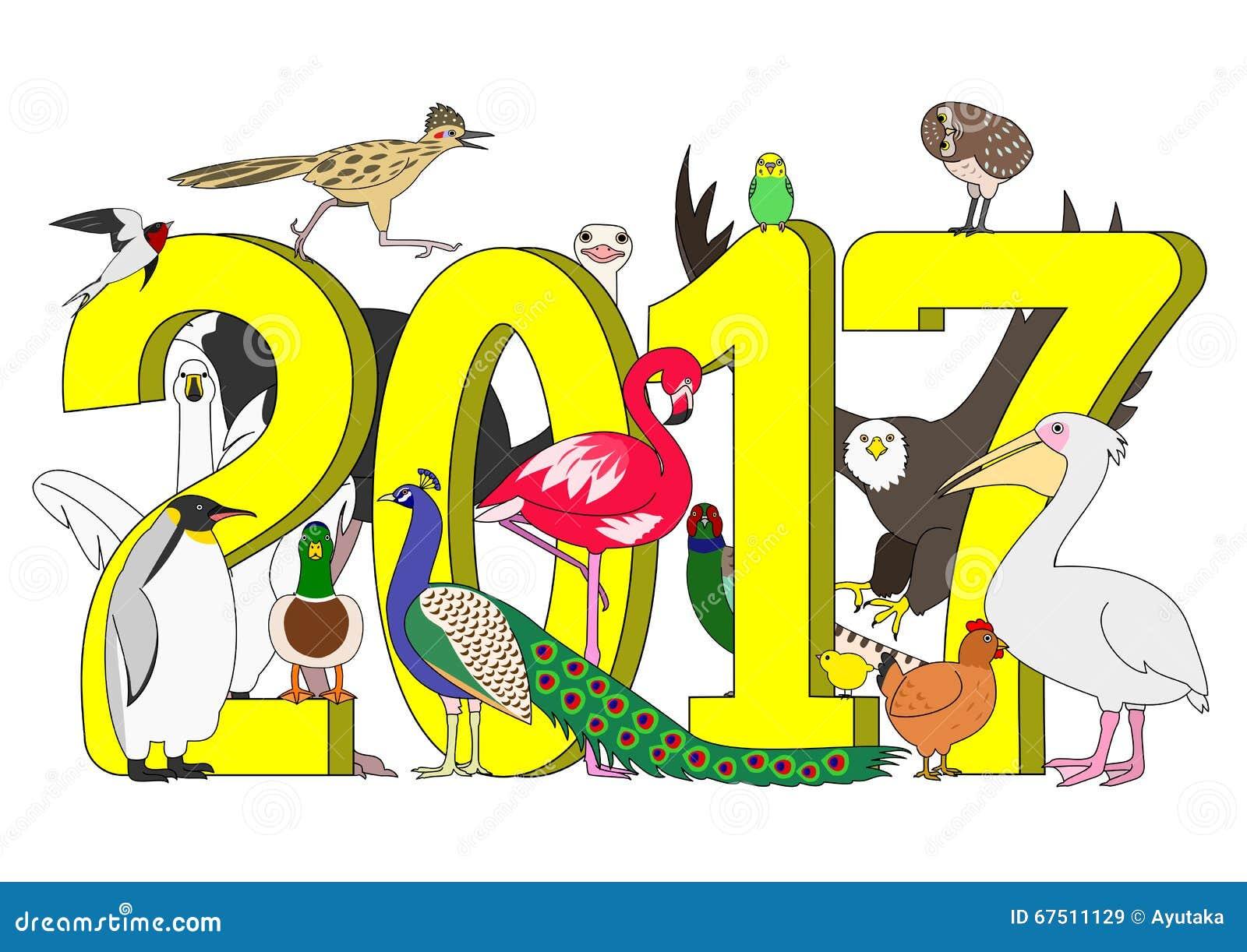 Groupe d oiseaux pendant la nouvelle année