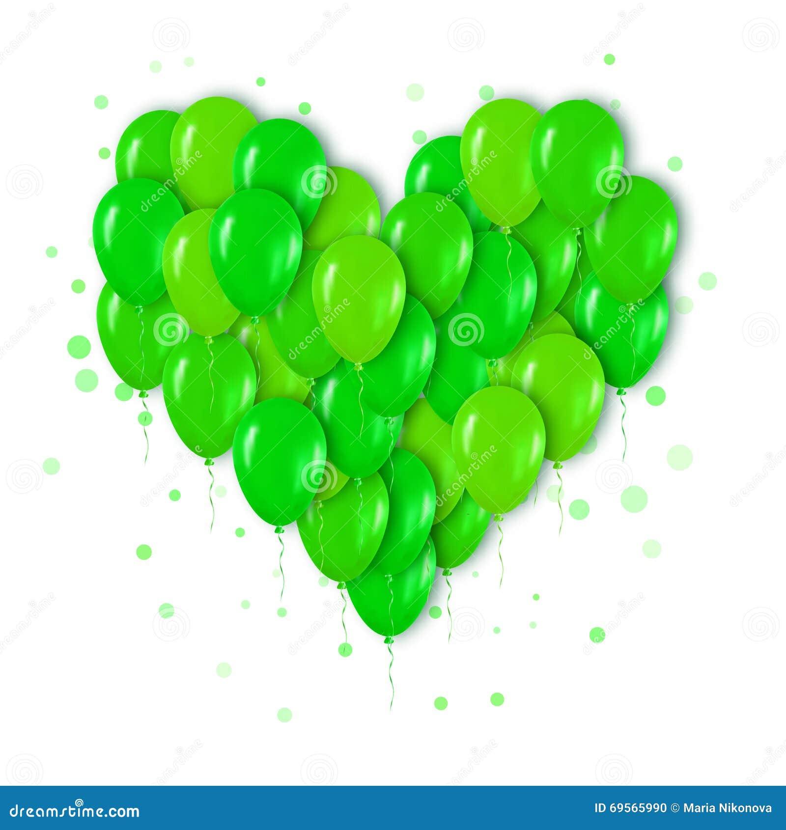 Groupe 3d vert au néon réaliste de ballons volant pour la partie