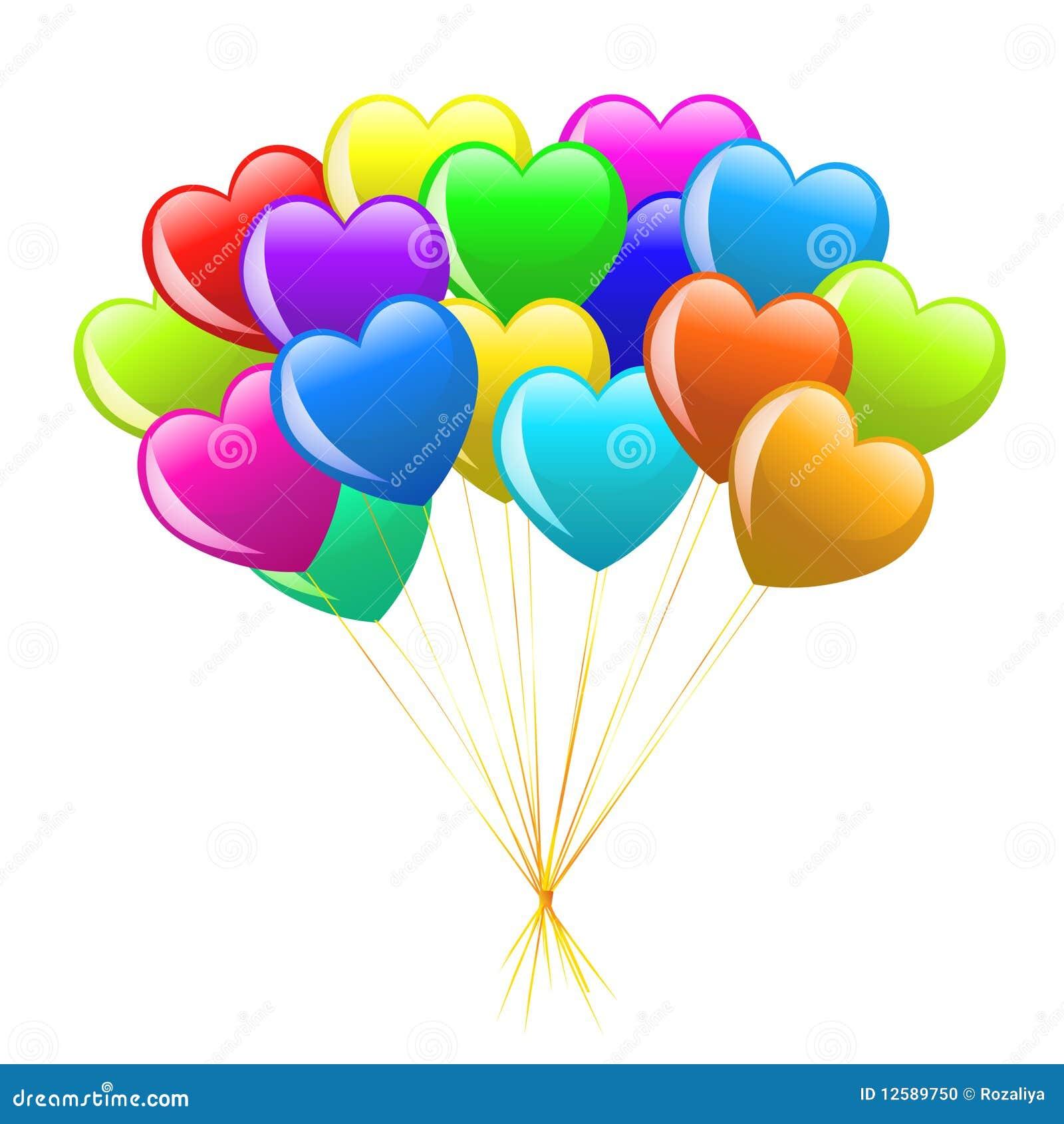 Groupe de ballons color s de coeur de dessin anim - Dessin de ballon ...