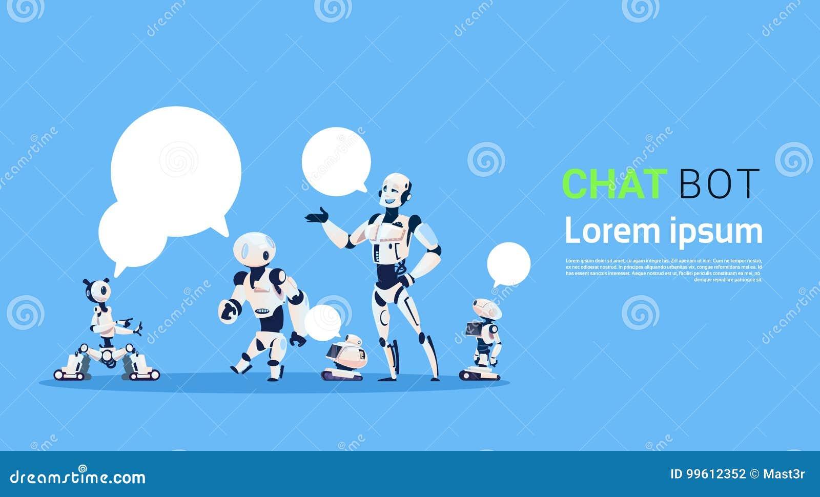 Groupe de Bot de causerie, élément virtuel d aide de robots de site Web ou applications mobiles, concept d intelligence artificie