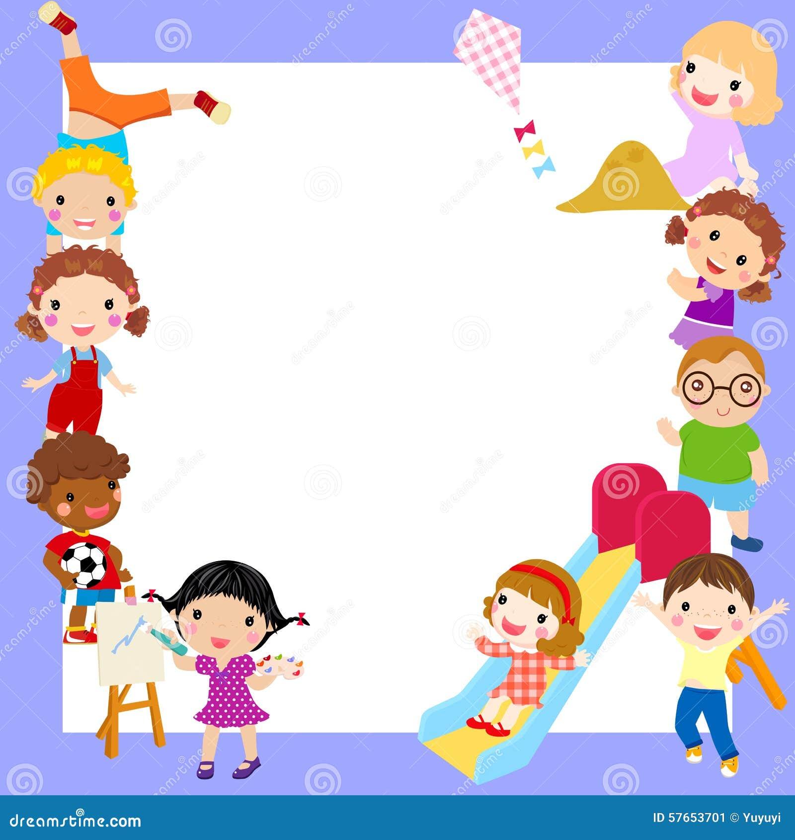groupe de cadre d 39 enfants illustration de vecteur illustration du amusement 57653701. Black Bedroom Furniture Sets. Home Design Ideas