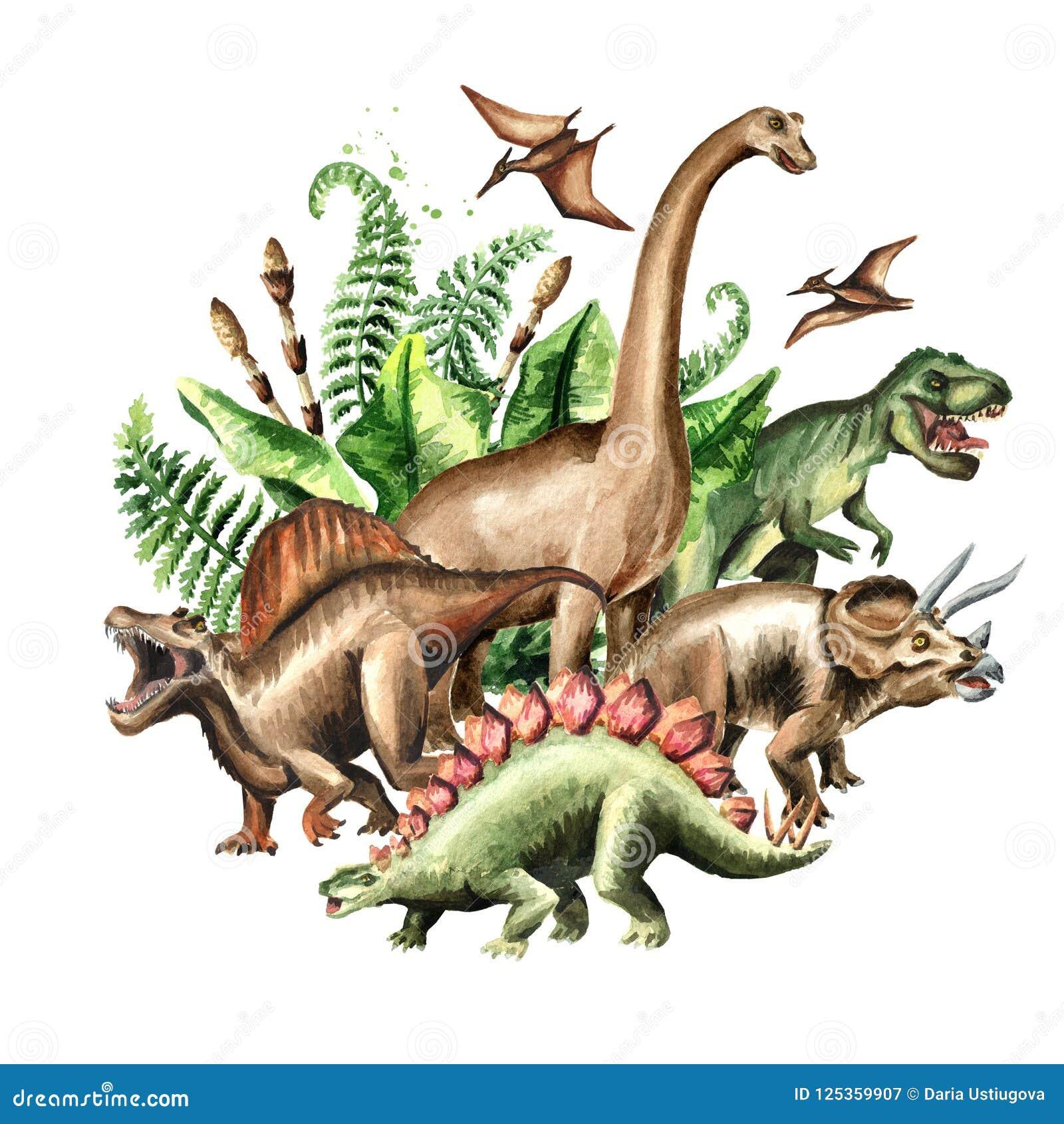 Groupe de dinosaures avec les usines préhistoriques Illustration tirée par la main d aquarelle, d isolement sur le fond blanc