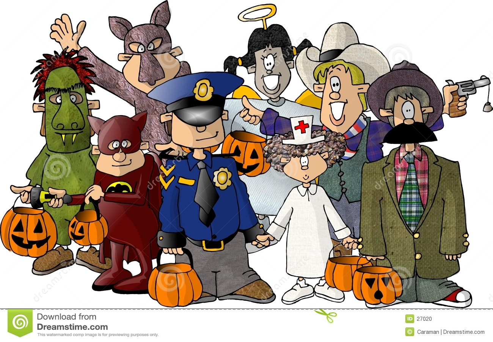 Groupe de gosses dans des leurs costumes de Veille de la toussaint