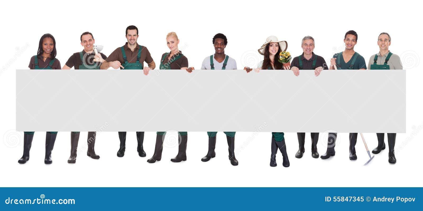 Groupe de jardinier Worker With Placard