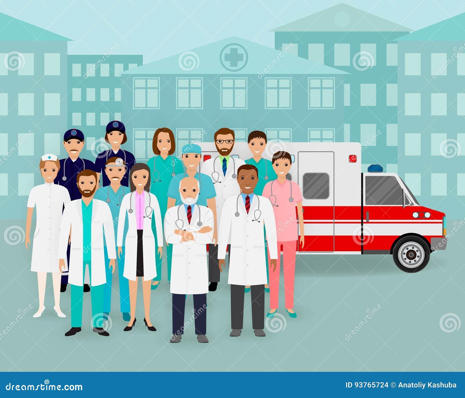 Groupe de médecins et infirmières et voiture d ambulance sur le fond de paysage urbain Employé de service médical de secours