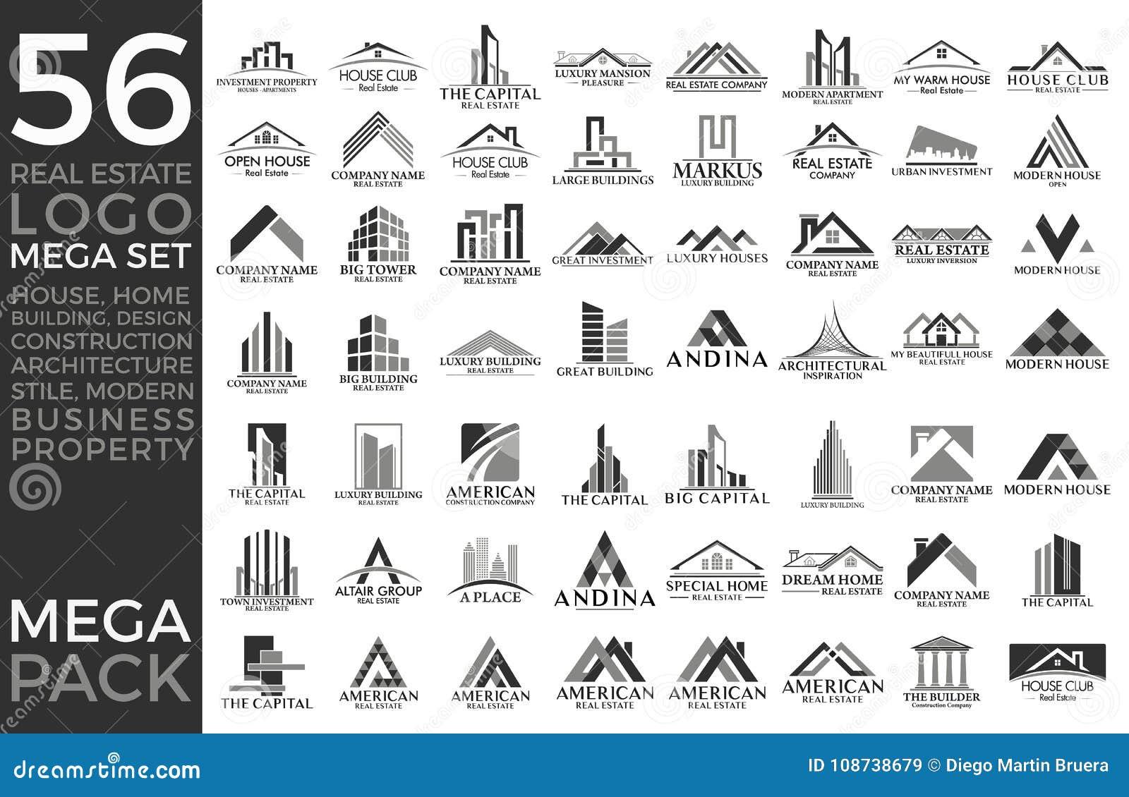 Groupe de méga, Real Estate, bâtiment et construction réglés et grands Logo Vector Design
