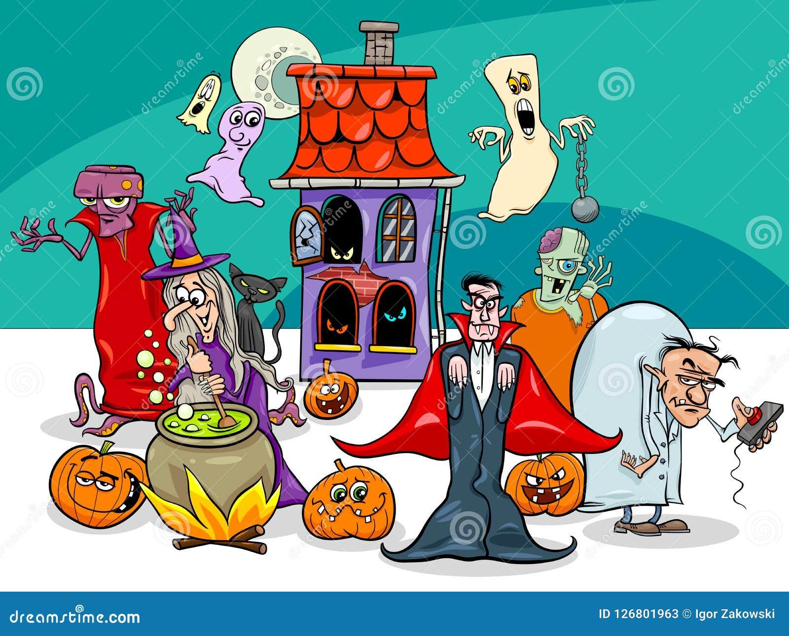 Groupe de personnages de dessin animé de vacances de Halloween