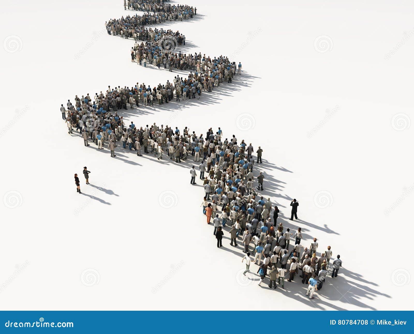 Groupe de personnes attendant dans la ligne