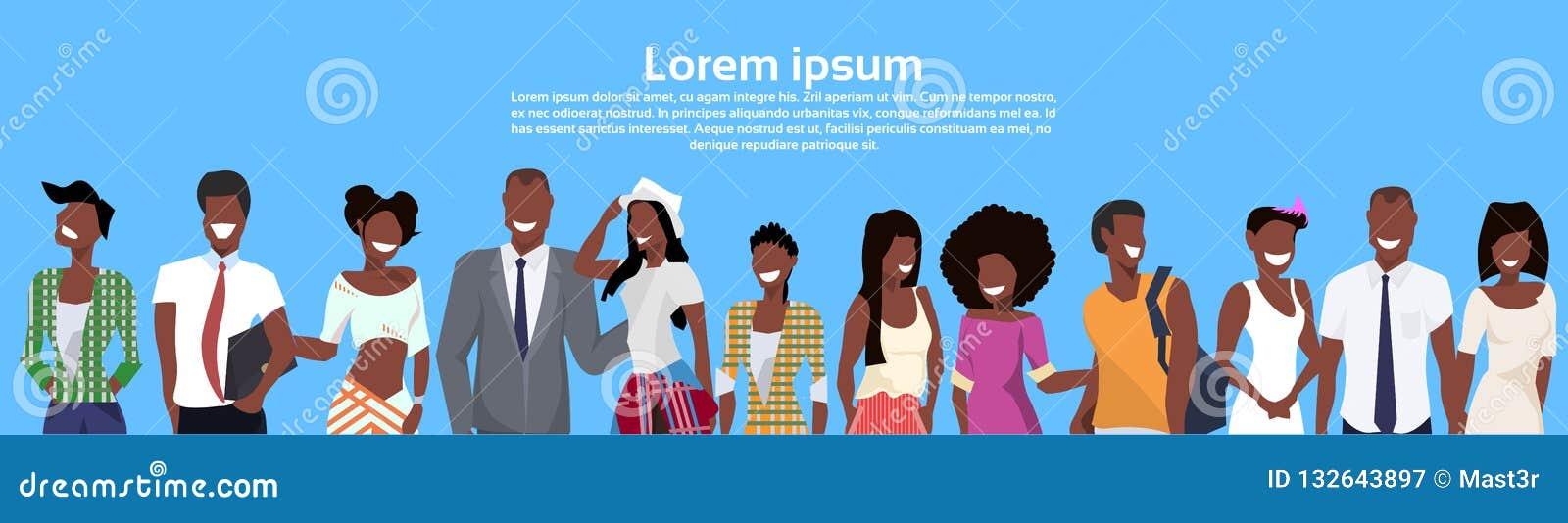 Groupe de personnes d afro-américain tenant ensemble la bande dessinée hommes-femmes d hommes de femmes de tenue professionnelle
