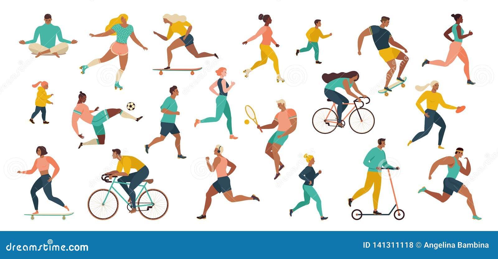 Groupe de personnes exerçant des activités de sports au parc faisant des exercices de yoga et de gymnastique, pulsant, bicyclette