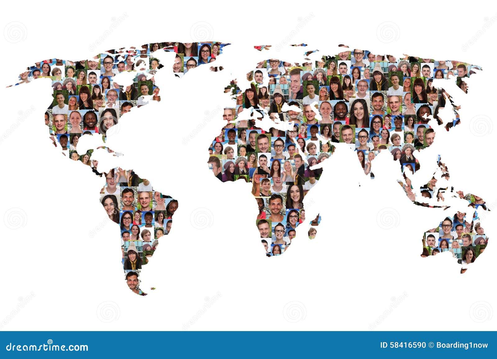 Groupe de personnes multiculturel de la terre de carte du monde plongeurs d intégration