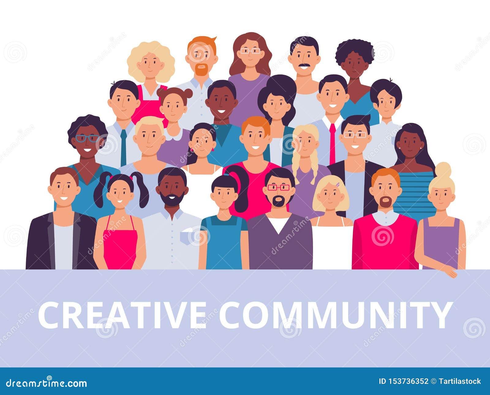 Groupe de personnes Portrait multi-ethnique de la communauté, personnes adultes diverses et illustration de vecteur d équipe d em