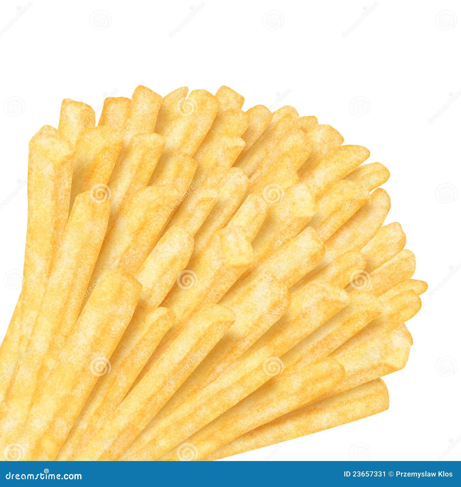 Groupe de pommes frites dans le coin