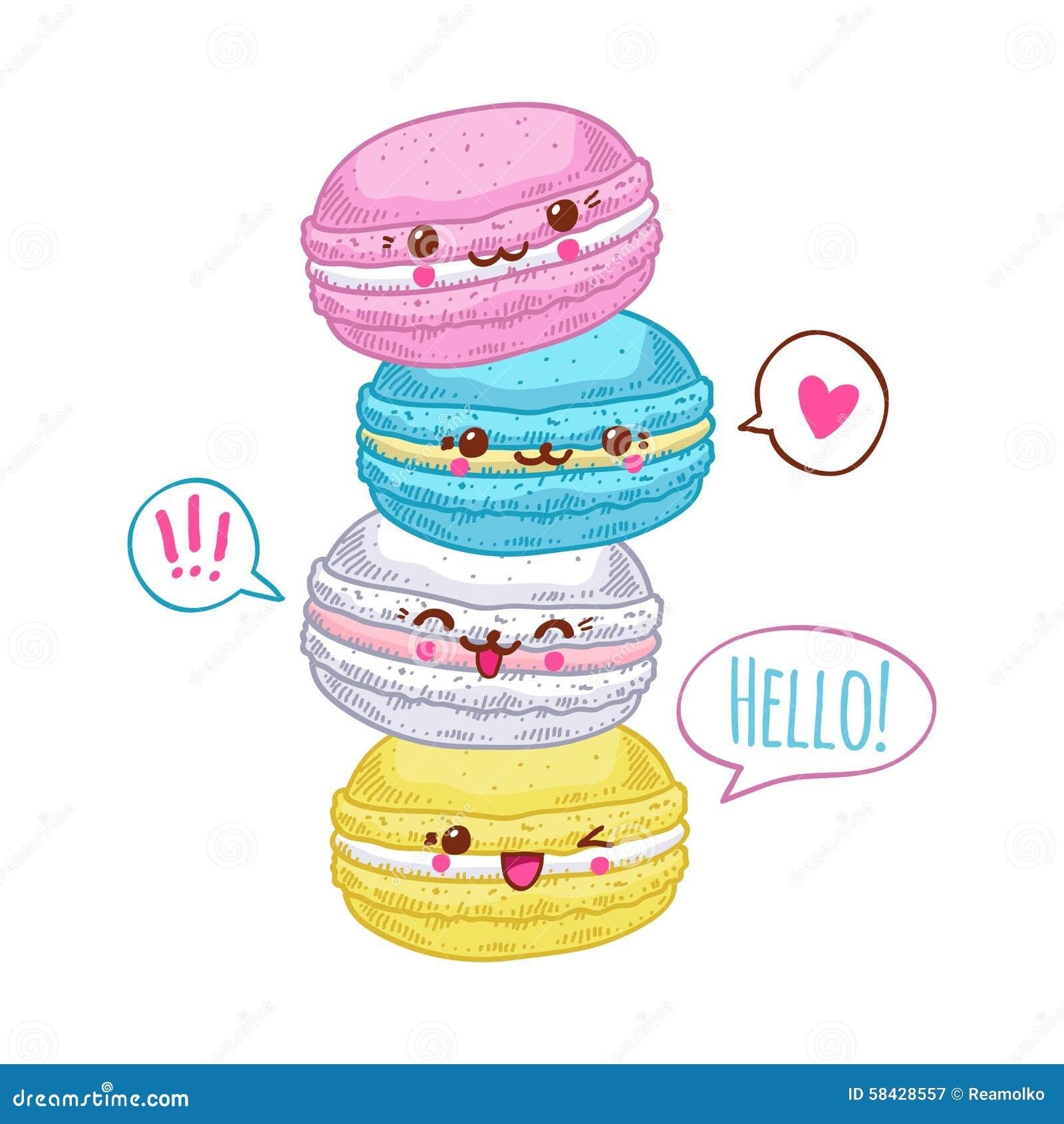 Groupe De Quatre Macarons Mignons De Kawaii Illustration De Vecteur