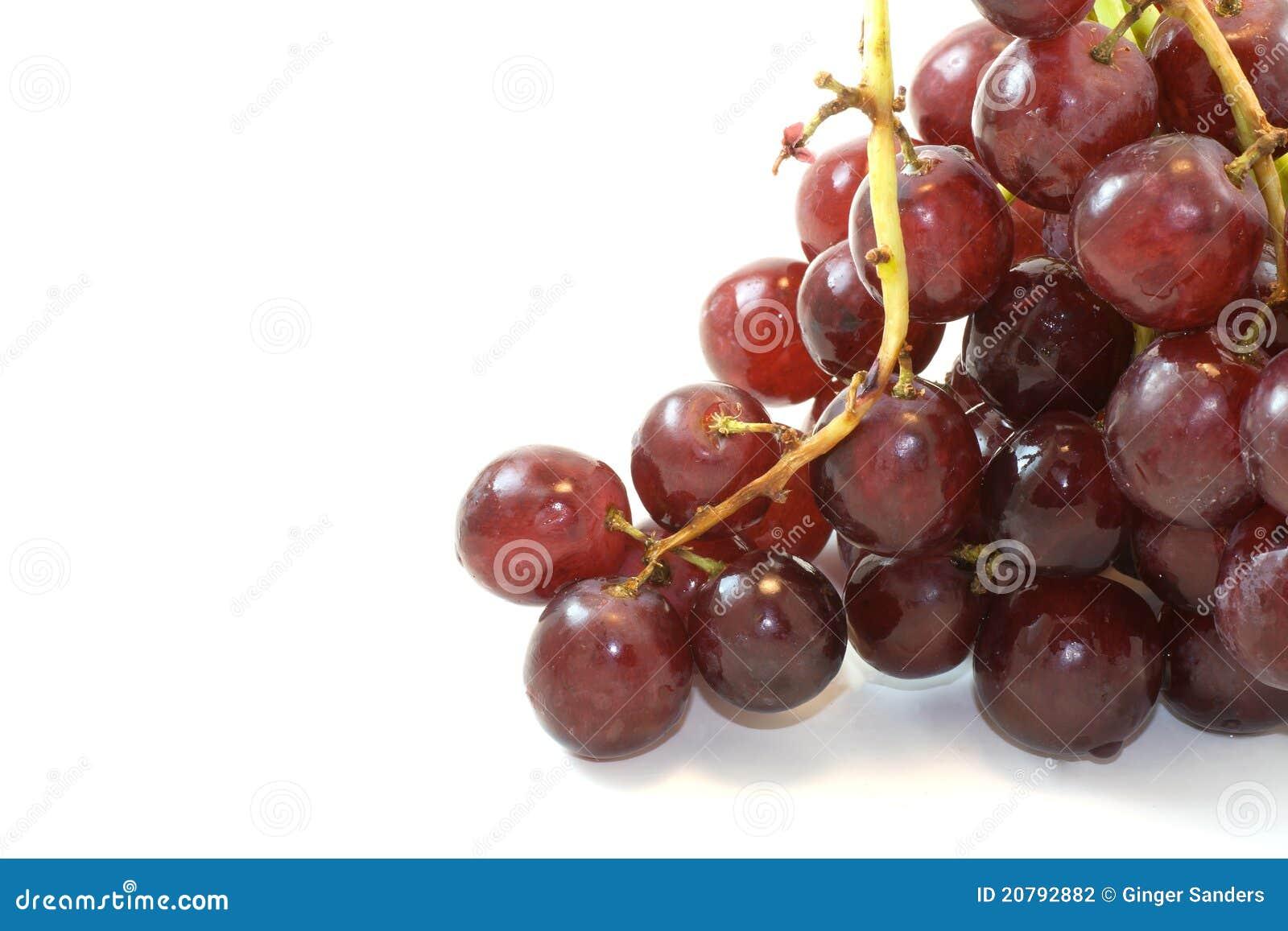 Groupe de raisins rouges sur le fond blanc