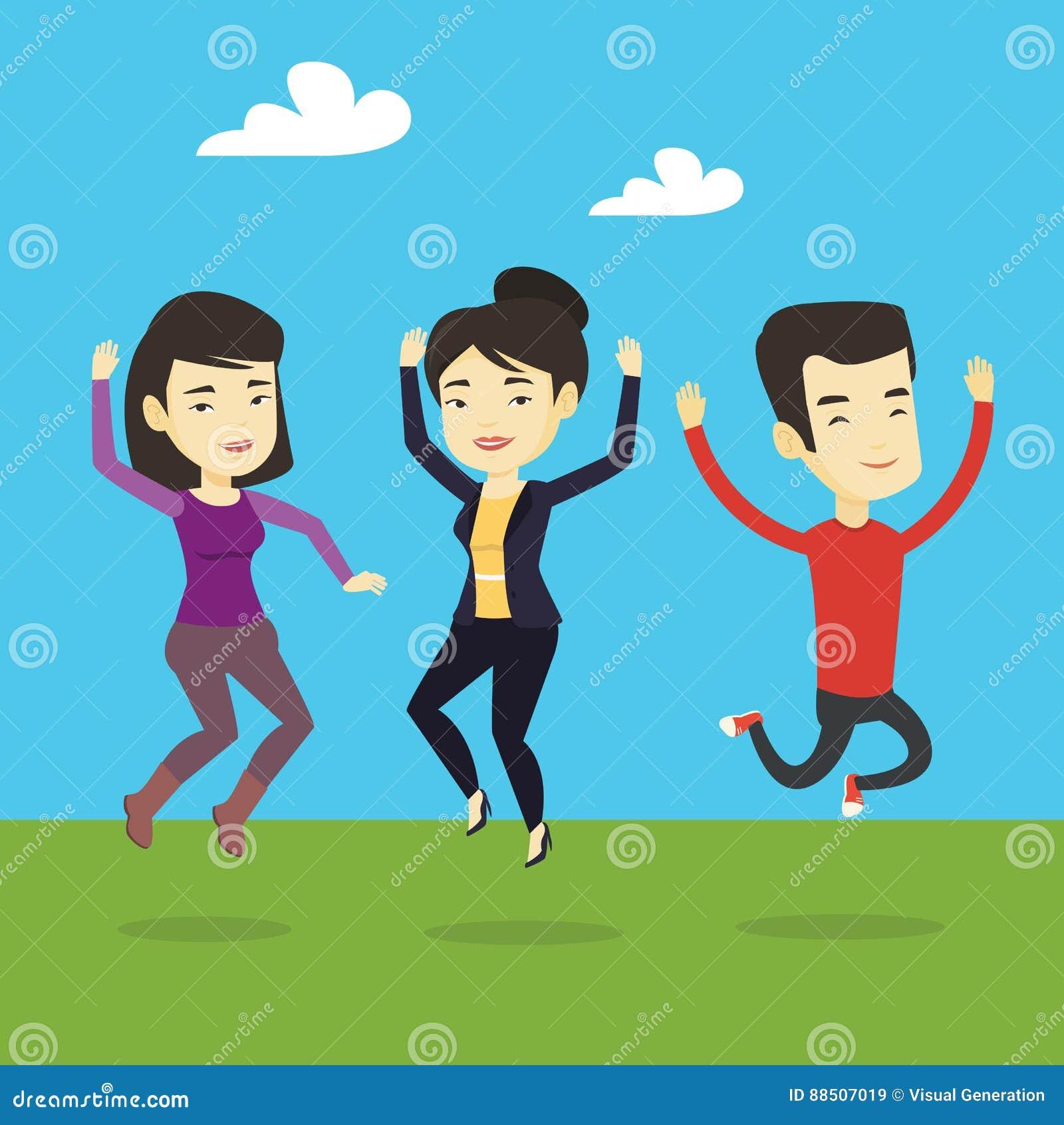 Groupe de sauter joyeux des jeunes