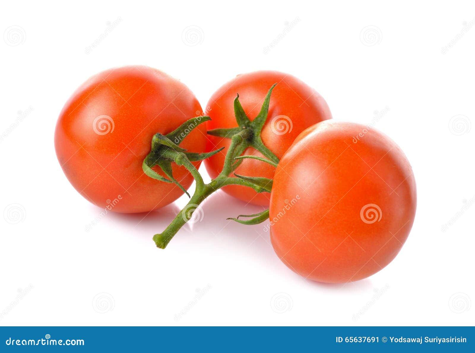 Groupe de tomate fraîche de tige sur le blanc