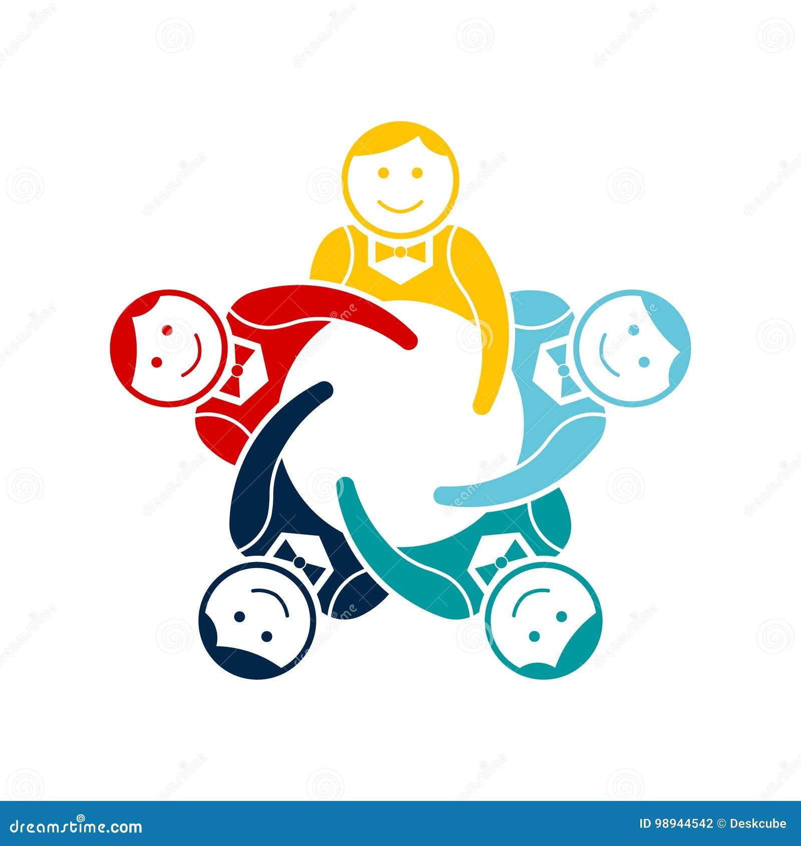 Groupe de travail d équipe de garçons de cinq Conception de logo de vecteur