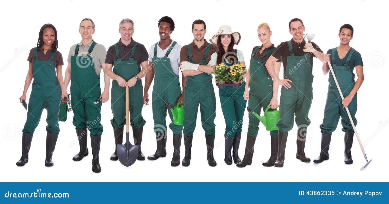 Groupe de travailleurs de jardinier