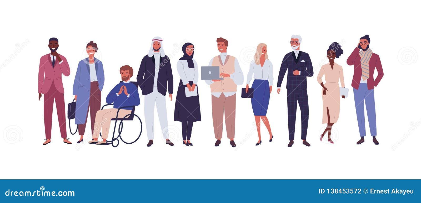 Groupe divers d hommes d affaires, d entrepreneurs ou d employés de bureau d isolement sur le fond blanc Société multinationale