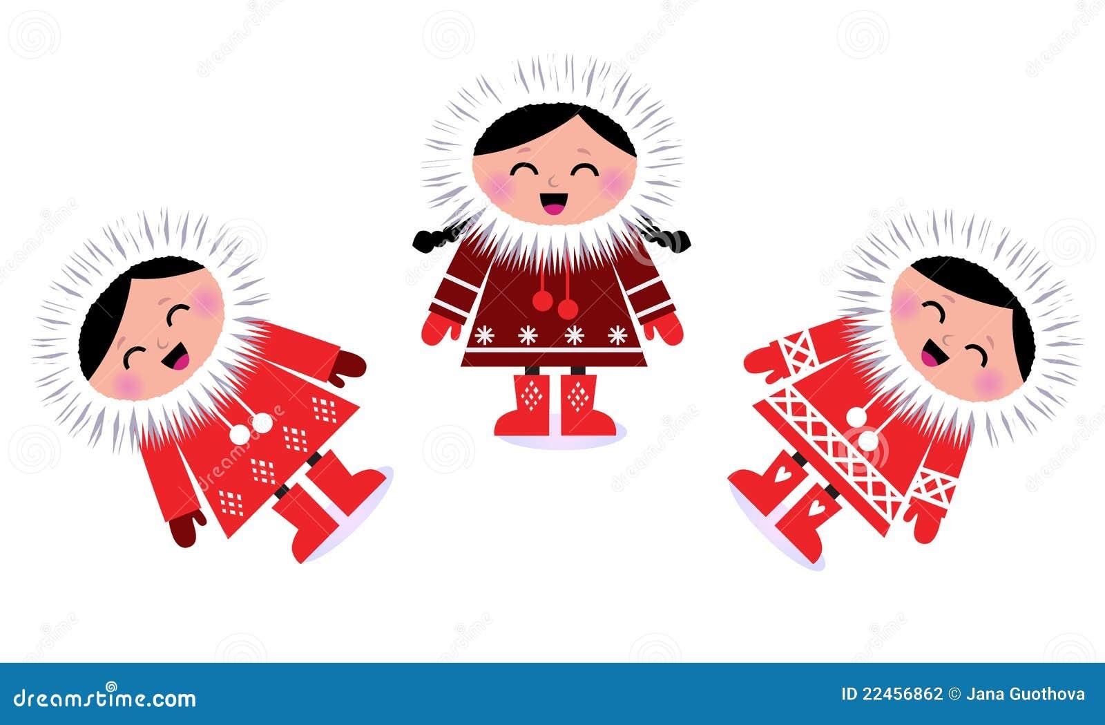 Groupe esquimau mignon d 39 enfants illustration de vecteur - Esquimau dessin ...