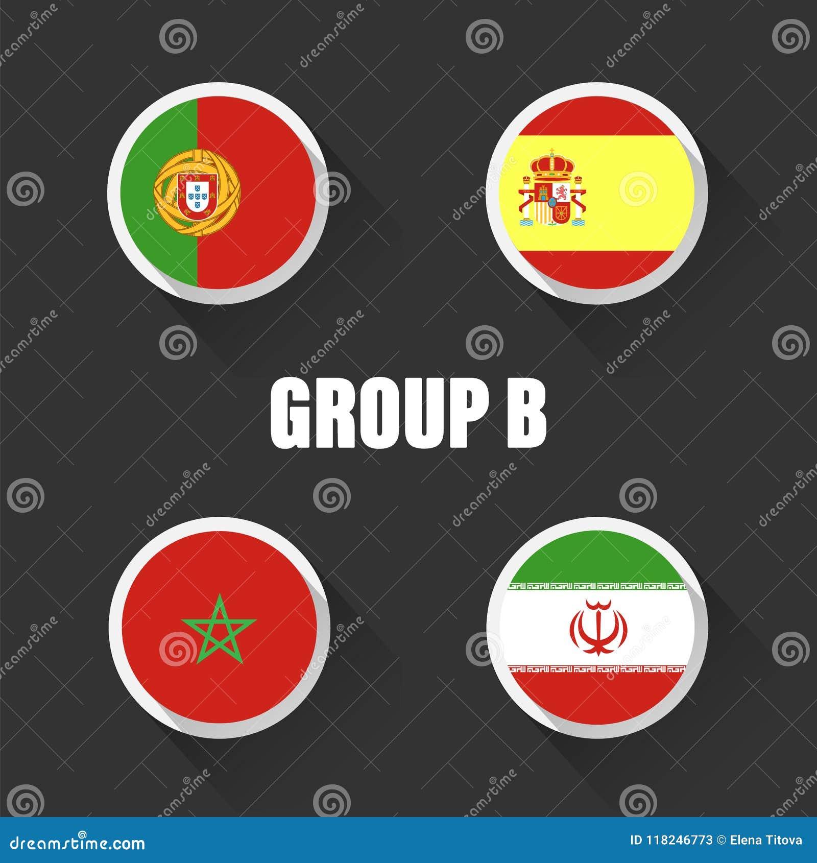 Groupe le championnat du monde du football en Russie Drapeaux de pays d illustration de vecteur