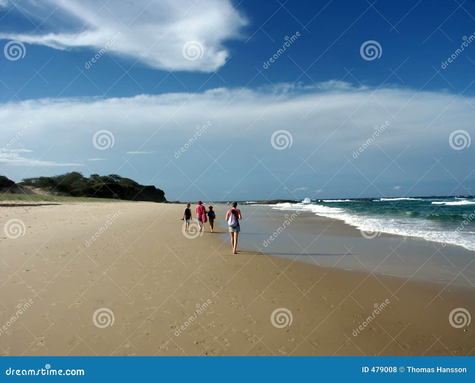 Groupe marchant sur la plage