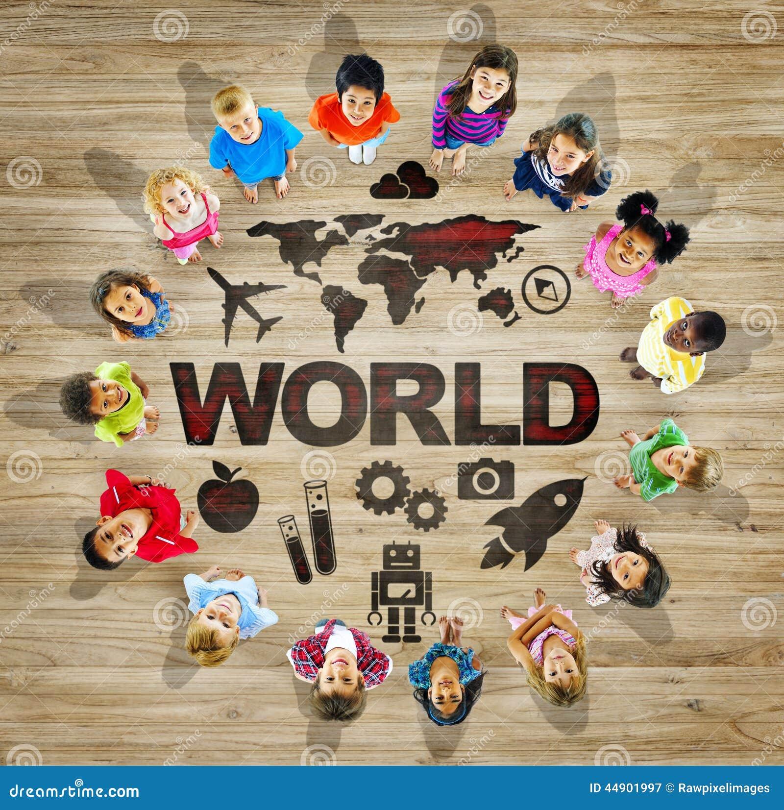 Groupe multi ethnique d 39 enfants avec la carte du monde image stock image du gosses enfants - Les enfants du design ...