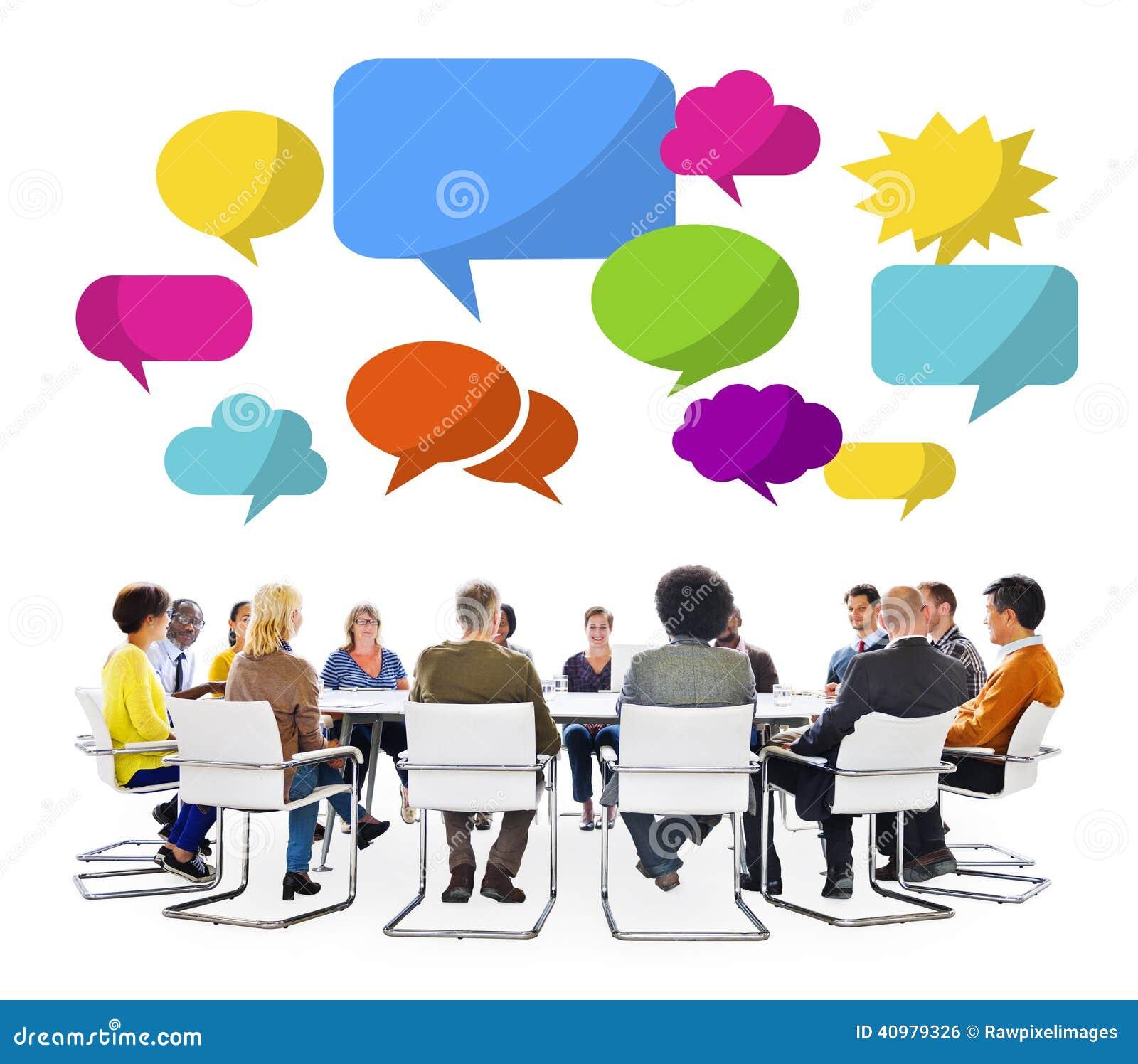 Round table meeting png - Groupe Multi Ethnique Lors D Une R 233 Union Avec Des Bulles
