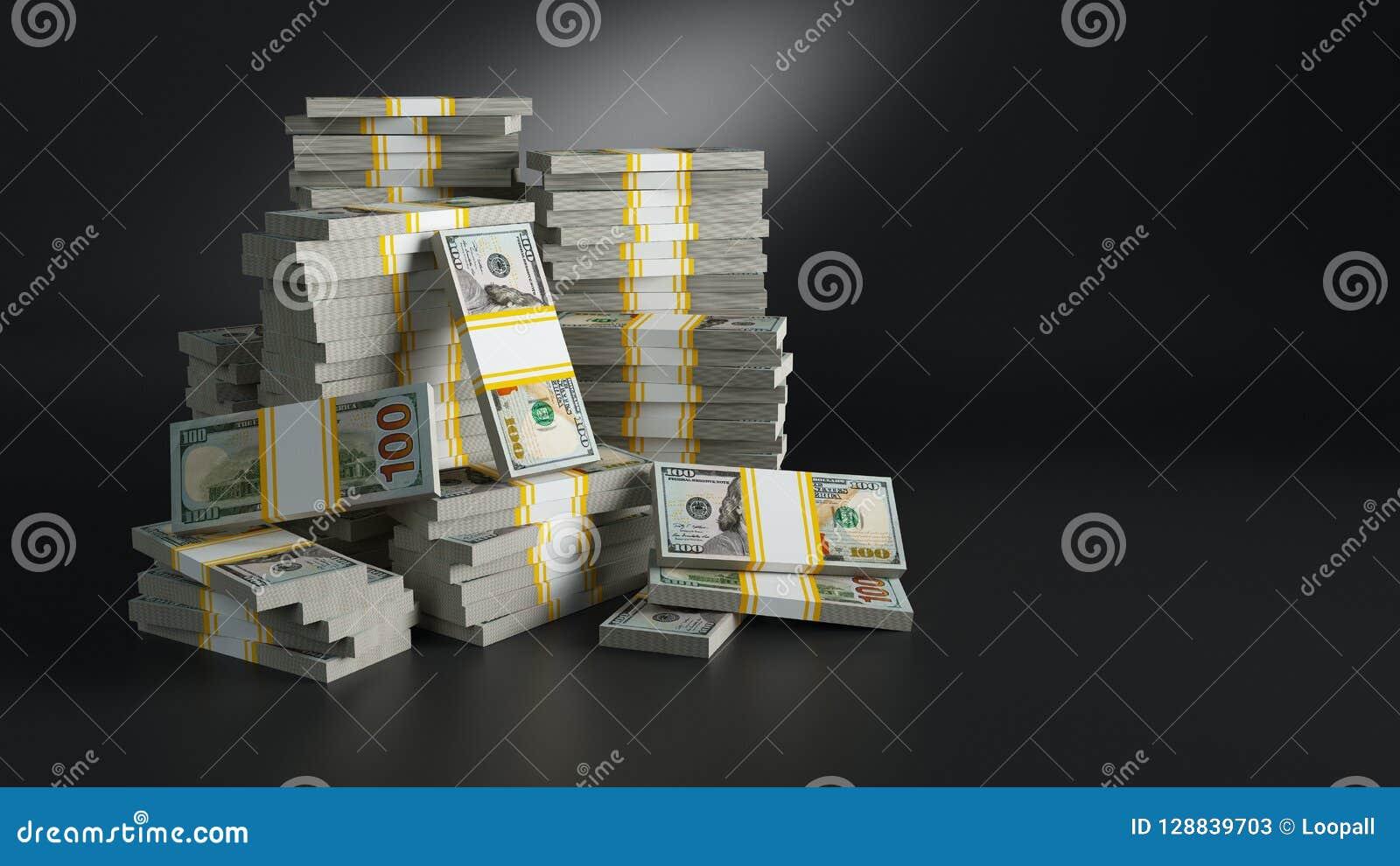 Groupes avec des dollars Tas de monnaie fiduciaire