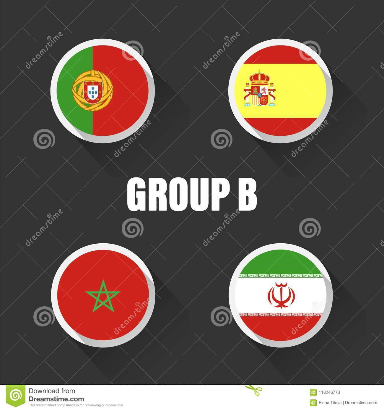Groups football world championship in Russia. Vector illustration country flags