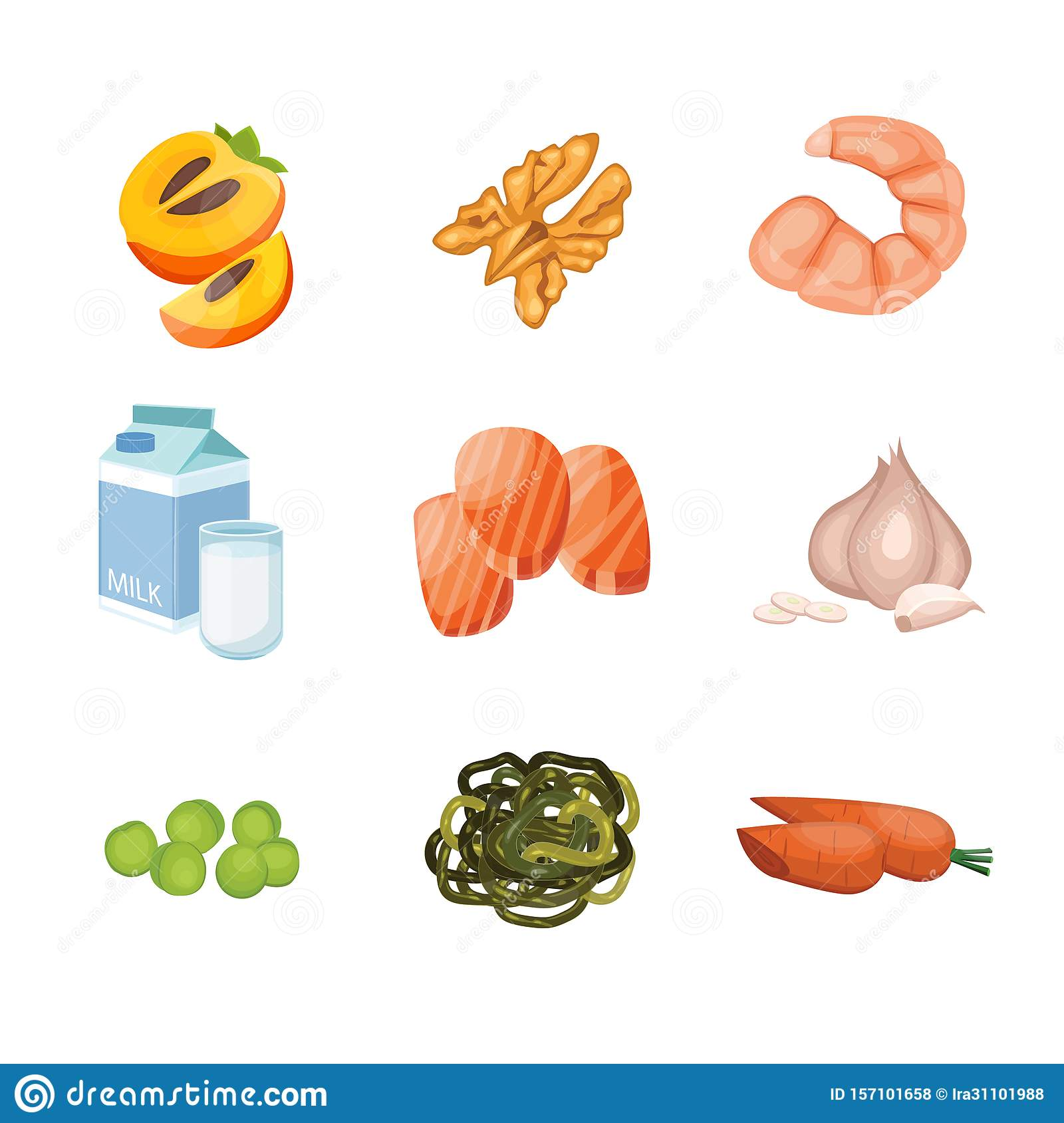 Groups of healthy fruit, vegetables, meat, fish and dairy products containing Iodine like persimmon