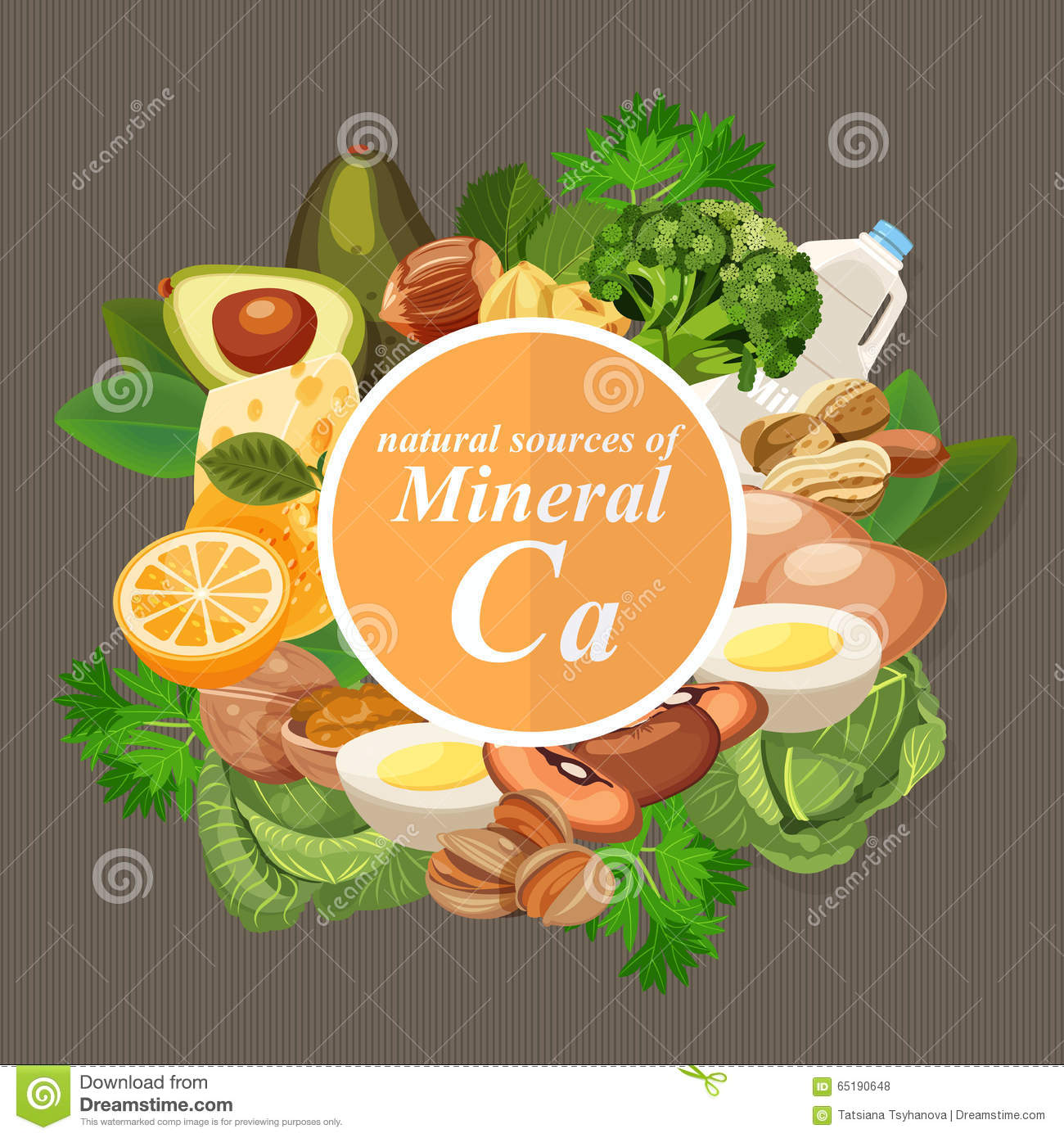 Groups of healthy fruit, vegetables, meat, fish and dairy products containing specific vitamins. Calcium.Groups of healthy fruit,