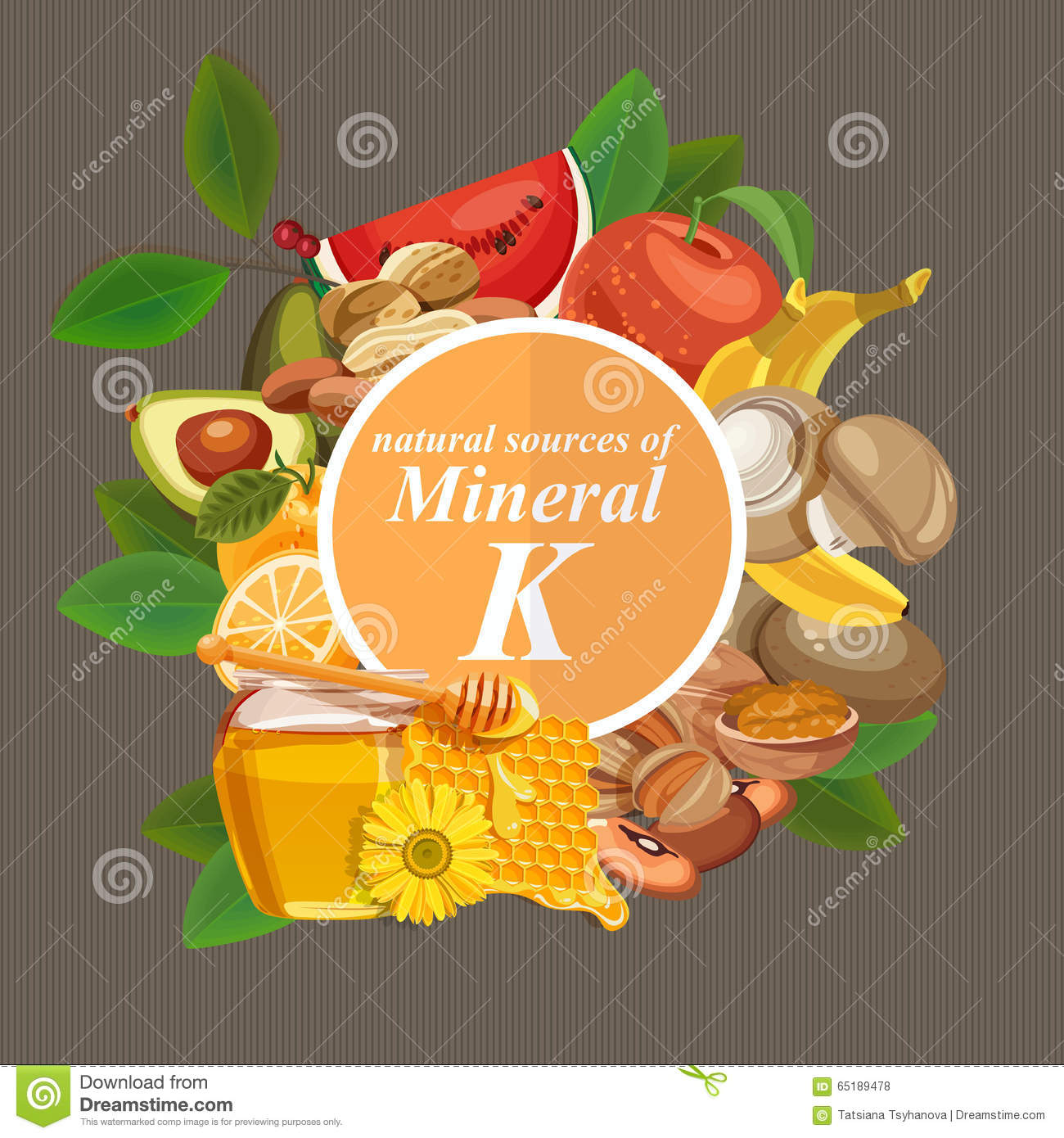 Groups of healthy fruit, vegetables, meat, fish and dairy products containing specific vitamins. Potassium. Minerals.