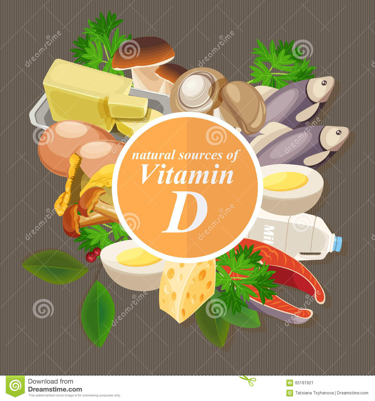 Groups of healthy fruit, vegetables, meat, fish and dairy products containing specific vitamins. Vitamin D.