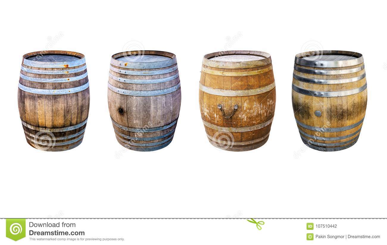 Groups old wooden barrel for champagne, wine, whiskey, rum, beer, with steel ring