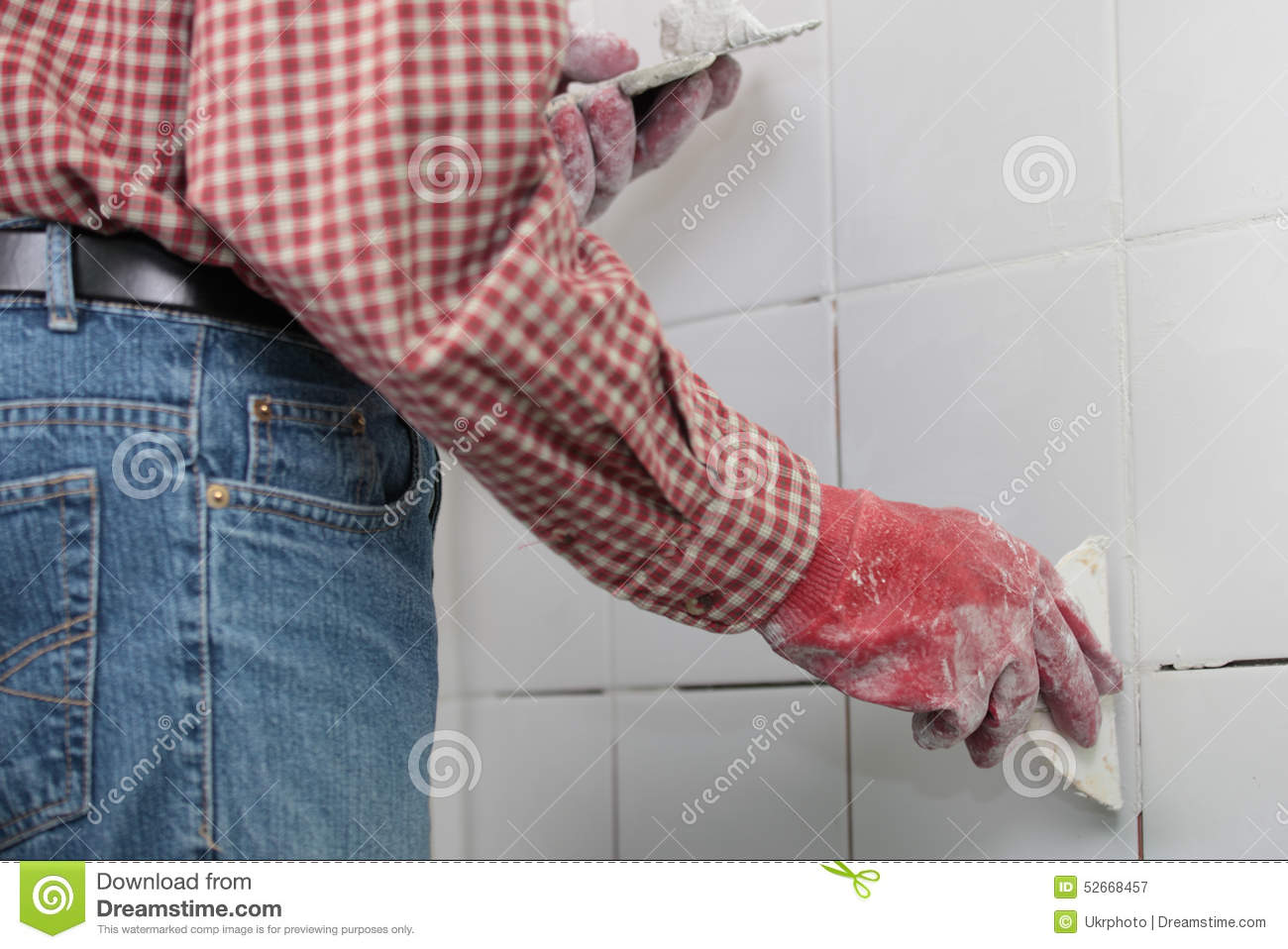 Grouting Ceramic Tiles Stock Image Image Of Blue Jeans 52668457