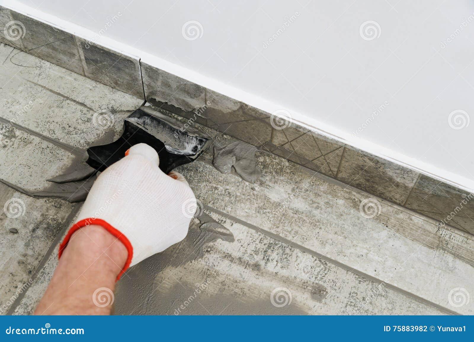 Grouting Ceramic Tiles Stock Photo Image Of Tiles Flooring 75883982